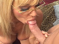 Thick cock gets sucked hard by a mature blonde